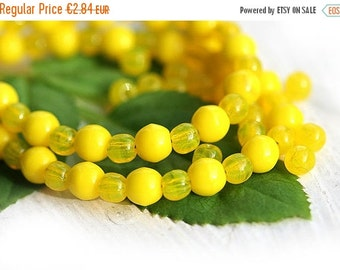 ON SALE Bright Yellow beads mix, Czech glass - round spacers, druk, small - 4-3mm - approx.120Pc - 0480