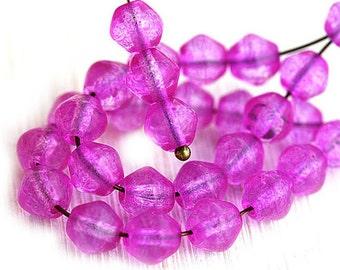 Magenta pink bicone Czech glass beads, bright pink pressed glass, bicone beads - 6mm - 30Pc - 1380