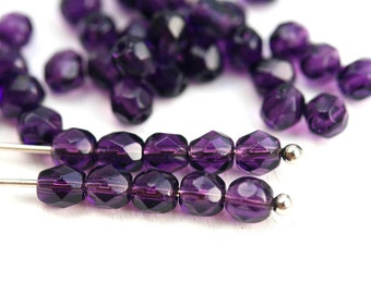 4mm Dark Violet Purple Czech glass beads, Tanzanite round coated fire polished faceted spacers - 50Pc - 0225