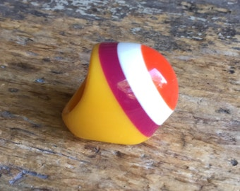 Vintage 90s Ring Plastic Ring Chubby Ring Multicolor Ring French Jewelry Size Ring 6.25 US