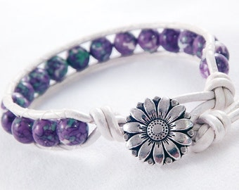 Purple and Green Rainforest Stone Jade Leather Wrap Bracelet - White Leather - Silver Flower Button - Gifts under 20