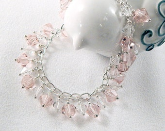 Beaded Bracelet - Pink and Clear Crystal Beads - Silver Chain - Sparkle - Gifts Under 20