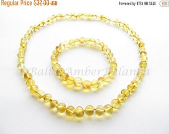17%OFF--CHRISTMAS SALE Baltic Amber Necklace and Matching Bracelet Lemon Color Rounded Beads. For Adults