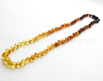 Baltic Amber Necklace Rainbow Color Rounded Beads