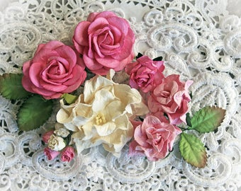 reneabouquets flower set  pink  white mulberry paper flowers, Beautiful flower