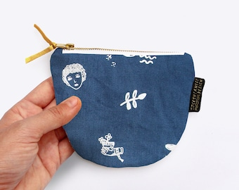 SALE! Limited Edition Hand Screenprinted Linen Dumpling Coin Purse with Archaeology Print