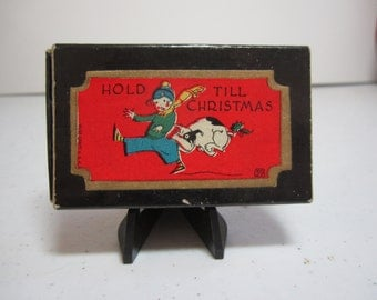 Art Deco 1920's-30's unused 4 die cut gold gilded Rust Craft christmas gift seals in box, graphics of little boy getting bit by a bulldog