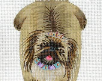 Hand Painted Needlepoint Dog Canvas - Pekingese Beanbag
