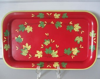 Red Metal Maple Leaf and Whirligig Tray