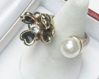 Vintage 1960's Black Glass Heart Shaped Petals Faux Pearl Gold Tone Open Flower Ring Costume Jewelry Mid Century Gift For Her on Etsy