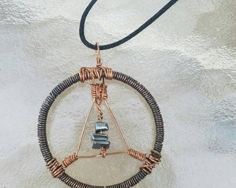 Mutli-tone hematite & copper pendant, abstract copper pendant, hematite necklace, copper necklace, copper jewelry, one of a kind