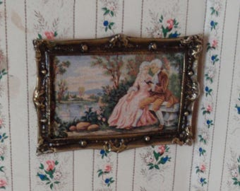 Dollhouse Miniature frame in metal, Lady and gentleman in garden, French dollhouse collectible accessory, 1:12th scale
