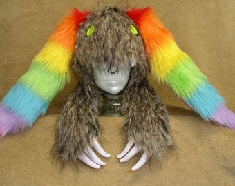 Big furry monster hat - Natural grey-brown bunny with Rainbow ears