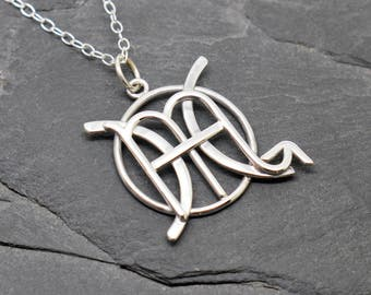 Pisces Scorpio combined zodiac signs necklace sterling silver