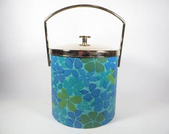 Mid Century Turquoise Flower Ice Bucket -Brass Lid Blue Flower Vinyl Ice Bucket