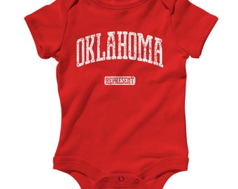 Baby One Piece - Oklahoma Represent - Infant Romper - NB 6m 12m 18m 24m - Baby Shower Gift, Oklahoma City, State Baby, Basketball, Football