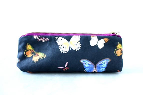 Butterfly Pencil Pouch Butterfly beauty pouch Beauty Pouch Butterfly lover Butterfly fabric Butterfly art Butterfly illustration Travel life