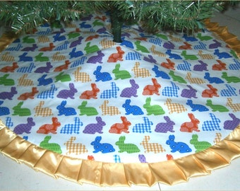"""Easter Tree Skirt ~ 47"""" ~ Bright Rabbits with Yellow Ruffle"""