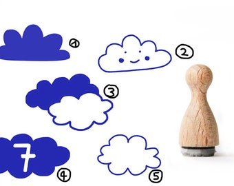 Tiny rubber stamp Cloud, Cloud Rubber Stamp, Funny Cloud Rubber Stamp, Children Rubber stamp, Blue Cloud rubber stamp, funny Cloud,