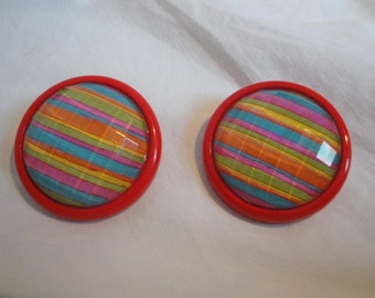 Vintage Colorful Clip On Earrings