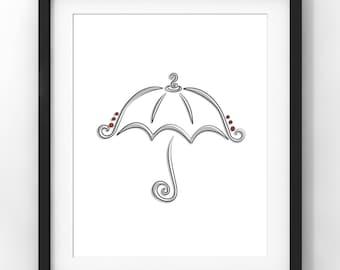 Downloadable Art, Sketch, Umbrella, Home Decor, Parisian, Minimalist Art, Modern Art, Contemporary Art, Nursery, Printable Download