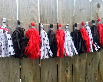 Red Black and Polka Dot tassel garland  Minnie Mouse inspired Tassel garland Banner