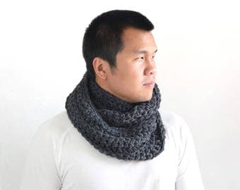Fathers Day Gift Mens Chunky Knit Scarf Charcoal Black Wool / Knitted Cowl Neckwarmer Warm Winter Accessory / Mens Fall Fashion Stylish Cowl