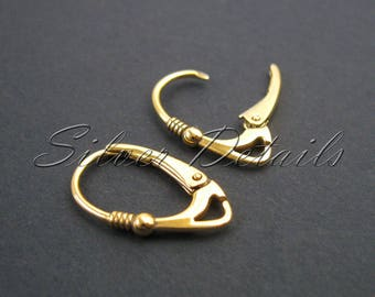 Gold Vermeil Euro Leverbacks Ear Hooks with Balls Sterling Silver 925 Earring finding reference code L2Y