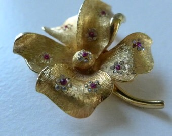 Goldtone Floral Brooch Rhinestone Brushed Metal BSK Pin Vintage Jewelry