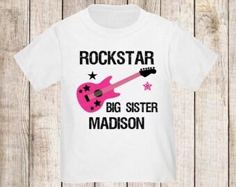 Rockstar Big Sister Personalized T Shirt Big Sister tshirt