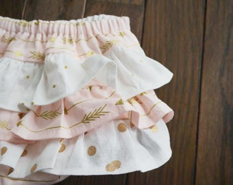 Baby Girl Bloomer-Easter-Spring Bloomer-Vintage gold and rose gold baby-gold-pink and gold dot bloomer-white and gold ruffle diaper cover-