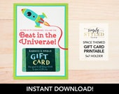 """INSTANT """"Best in the Universe"""" Gift Card Holder - Teacher and Staff Appreciation Space Themed Printables"""
