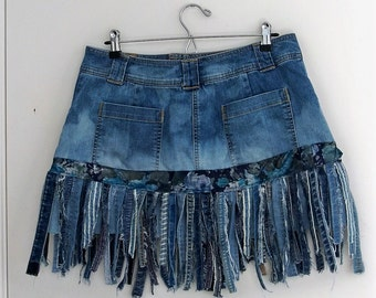 Plus size denim fringe skirt, blue jean skirt, funky gypsy skirt, tattered denim hippie skirt, denim mini skirt, size 14, urban grunge