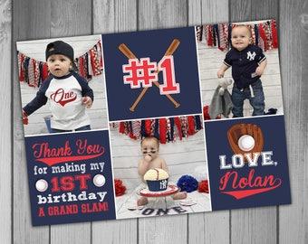Thank You Card Baseball Thank You Card Baseball Birthday Party Boy First Birthday Boy 1st Birthday Photo Birthday Card Birthday Thank You