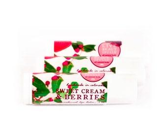 SUMMER SALE - Sweet Cream & Berries Lip Balm - All Natural - Warm Vanilla, Strawberry, and Blackberry