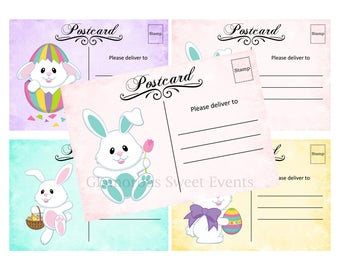 INSTANT DOWNLOAD, Easter Bunny Postcards 5x3.5, Printable, Glamorous Sweet Events