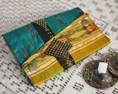 Small Assuit and Sari Scrap Zils Pouch- Bright Teal, Gold & Lavender Silk Ikat Bellydance Finger Cymbals Bag