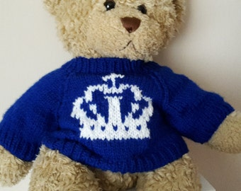 Teddy Bear Sweater - Hand knitted - Royal Blue with Crown Motif - fits Build a Bear