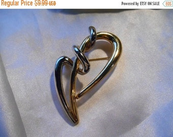 50% OFF SALE Gold and Silver Tone Deco Looking Fashion Brooch