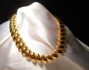 Napier Gold Tone Metal Statement Choker Necklace