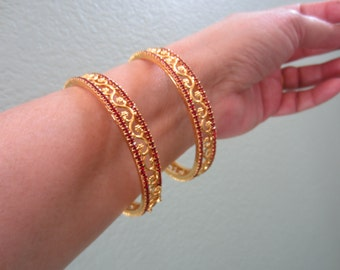 Red Stoned Bangles, Set of Two Bangles, Filigree Bangles, Indian Jewellery, Gift For Her