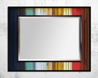 "Reclaimed Wood Mirror - ""Gradient Reflection"" - Reclaimed Wood Stripes - 40""x34"" - Modern Wood Wall Art - Functional Art"