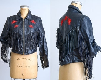 80s Leather Fringe Motorcycle Jacket / Black Leather Fringed with Red Roses Concho Biker Coat