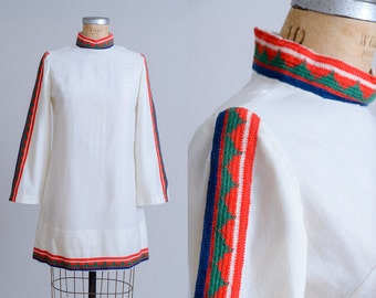 70s Tribal Mini Dress Bell Sleeve Bohemian Embroidered Bell Sleeve Hippie Dress