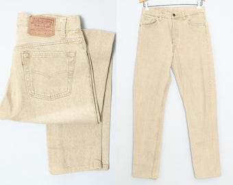 80s Levis 501 Beige Denim High Waisted Button Fly Skinny Jeans 30 x 31