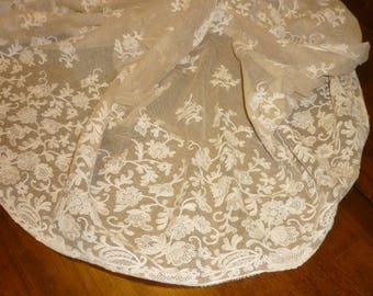 "EXTRAORDINARY Antique French Chantilly Lace Flounce Yardage...Lace 17"" Wide by 122"" long.."