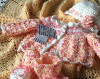 Baby crochet blanket & sweater set,pink, peach, custom design, intricate edge,soft Quality baby yarn,Welcome Home,baby shower,Free USA ship