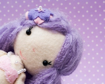 "Lorelei - Mermaid Princess Pastel Purple Doll - Shelly Down Gingermelon Design - 10"" Felt Art Doll - Fairy Kei - Mohair"