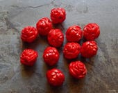 Sale 13mm Dark Red Acrylic Vintage Style Rose Beads, 12 PC (INDOC11)