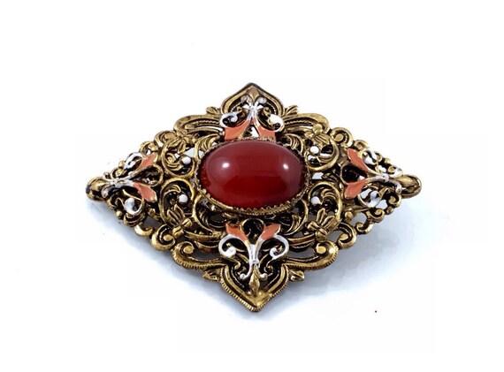Beautiful Vintage Czech Brooch, Old Vintage Carnelian Glass Cabochon Brooch. Handpainted Czech Rhinestone Brooch.